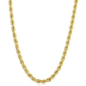 3.3mm Rope Chain Bracelet, 7 1/2 Inches, Yellow Gold
