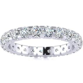 1 3/4 Carat Round Diamond Comfort Fit Eternity Ring In 14 Karat White Gold, Ring Size 4