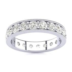 1 Carat Round Diamond Milgrain Eternity Ring In 14 Karat White Gold, Ring Size 4