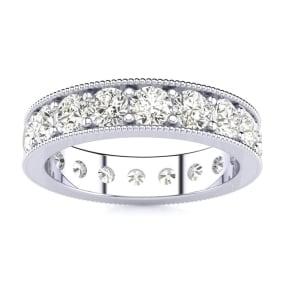 1 3/4 Carat Round Diamond Milgrain Eternity Ring In 14 Karat White Gold, Ring Size 4.5