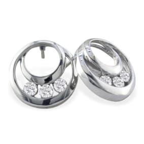 1/4ct  Three Diamond Earrings in 14k White Gold