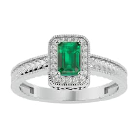 0.85 Carat Antique Style Emerald and Diamond Ring in 10 Karat White Gold