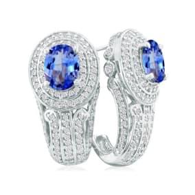 Bold 3 3/4ct Tanzanite and Diamond Earrings in 14k WG