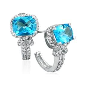 5 1/4ct Blue Topaz and Diamond Earrings in 14k White Gold