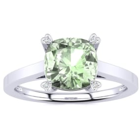 2ct Cushion Cut Green Amethyst and Diamond Ring in 10K White Gold