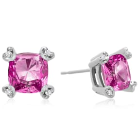 2ct Cushion Pink Topaz and Diamond Earrings in 10k White Gold