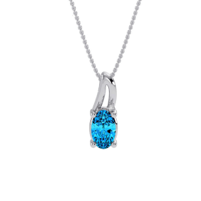 1/2ct Oval Shape Blue Topaz and Diamond Necklace in 10k White Gold