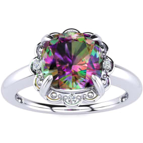 2ct Cushion Cut Mystic Topaz and Diamond Ring in 10k White Gold