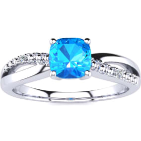 3/4ct Cushion Cut Blue Topaz and Diamond Ring In 10K White Gold