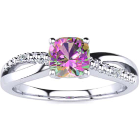 3/4ct Cushion Cut Mystic Topaz and Diamond Ring In 10K White Gold