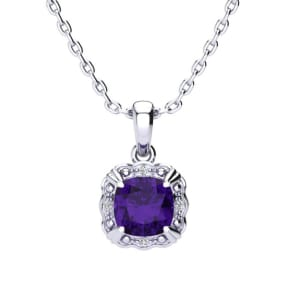 2 1/2ct Cushion Cut Amethyst and Diamond Necklace In 10K White Gold