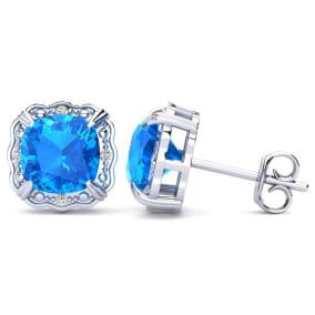 2ct Cushion Cut Blue Topaz and Diamond Earrings in 10k White Gold