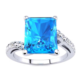 4ct Octagon Blue Topaz and Diamond Ring in 10k White Gold