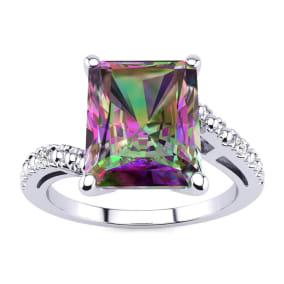 4ct Octagon Mystic Topaz and Diamond Ring in 10 Karat White Gold
