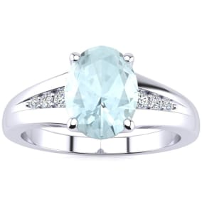1 1/5ct Oval Shape Aquamarine and Diamond Ring in 10k White Gold