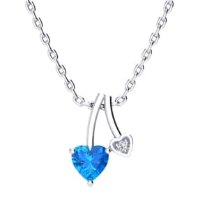1/2ct Heart Shaped Blue Topaz and Diamond Necklace in 10k White Gold