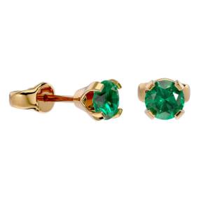1/2 Carat Emerald Stud Earrings in Yellow Gold