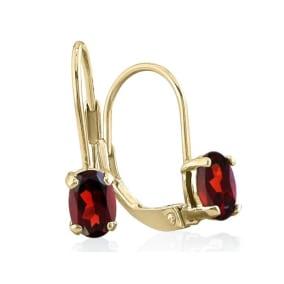 1 1/5 Carat Oval Shape Garnet Leverback Earrings In 14 Karat Yellow Gold
