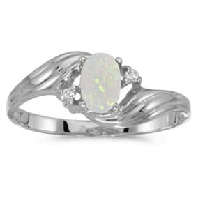 1/4ct Oval Opal And .03ct Diamond Ring in 14k White Gold