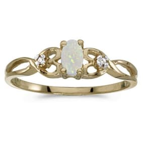 1/6ct Weaving Oval Opal And Diamond Ring in 14k Yellow Gold