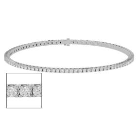 8 Inch 10K White Gold 2 1/4 Carat Diamond Tennis Bracelet