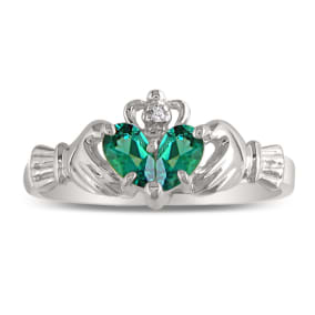 Emerald Claddagh Ring in 10k White Gold