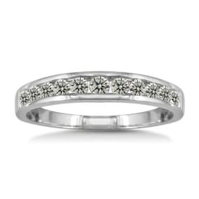 1/2ct Channel Set Diamond Wedding Band in White Gold. All Ring Sizes Available from Size 3.5 to Size 10