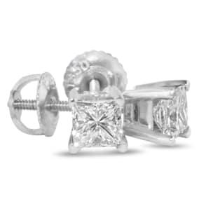 1 3/4ct Princess Diamond Stud Earrings In 14k White Gold