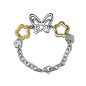 Two Tone Butterfly and Flower Bracelet