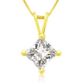 3/4ct 14k Yellow Gold Princess Diamond Pendant