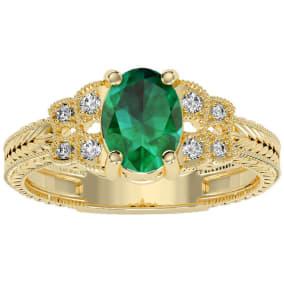 1 1/4 Carat Oval Shape Emerald and Diamond Ring In 10 Karat Yellow Gold