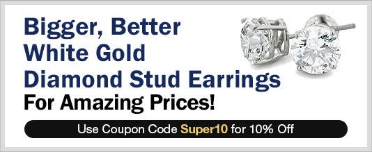 White Gold Stud Earrings