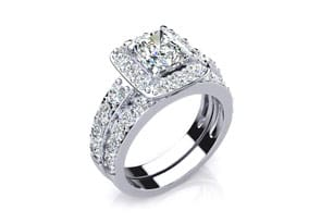 2.25ct Princess Diamond Bridal Set in 14k White Gold