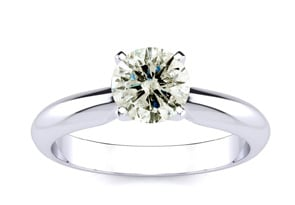 1ct Round Diamond Solitaire in 14k White Gold, Amazing Fiery Diamond At An Excellent Price!