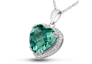 5ct Green Amethyst and Diamond Heart Necklace
