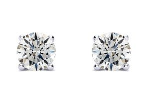 1ct Fine Diamond Studs in White Gold, Clarity Enhanced