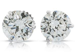 4ct Genuine Natural Diamond Studs in 14k White Gold Martini Setting