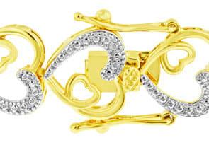 Two-Tone Diamond Heart Bracelet