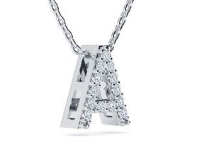 A Initial Necklace In White Gold With 13 Diamonds