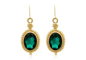 Regal 20 Carat Oval Shape Crystal Emerald Necklace With Free Matching Earrings