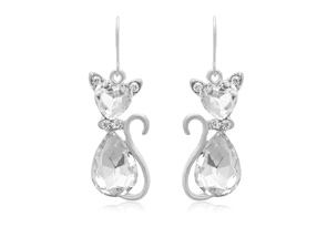 Crystal Cat Necklace wiith Free Matching Earrings