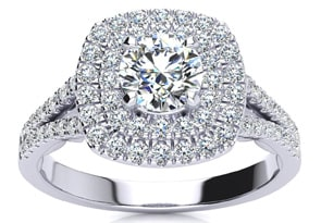 1 Carat Huge Looking Designer Diamond Halo Engagement Ring In White Gold