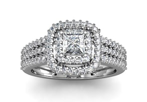 1 Carat Double Halo Massive Looking Princess Diamond Engagement Ring In 14K White Gold