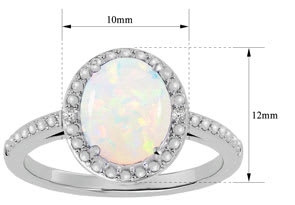1 ½ Carat Opal and Diamond Halo Ring in Sterling Silver