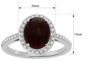 1 ½ Carat Black Opal and Diamond Halo Ring in Sterling Silver