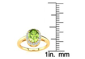 1 Carat Oval Shape Peridot and Halo Diamond Ring In 14K Yellow Gold