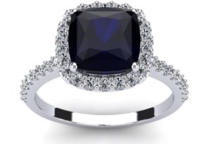 3 1/2 Carat Cushion Cut Sapphire and Halo Diamond Ring In 14K White Gold
