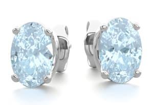 1 Carat Oval Shape Aquamarine Stud Earrings In Sterling Silver
