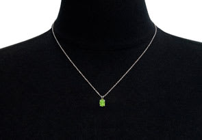 1/2 Carat Oval Shape Peridot Necklace In Sterling Silver, 18 Inches