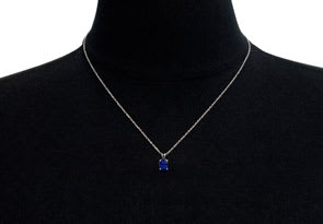 1/2 Carat Oval Shape Sapphire Necklace In Sterling Silver, 18 Inches